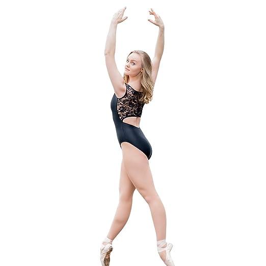 aa812dc8b0 HDW DANCE Women Tank Ballet Dance Leotard Bodysuit Lace Back Shiny Lycra  (S