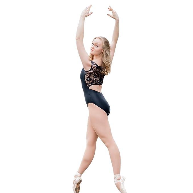 d297fb9be5ee HDW DANCE Women Tank Ballet Dance Leotard Bodysuit Lace Back Shiny Lycra  (S, Black