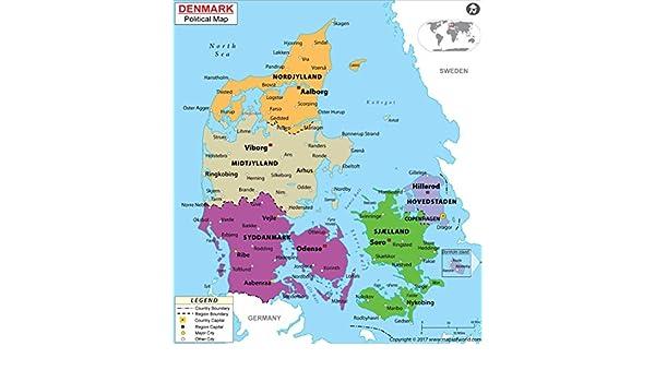 Amazon.com : Denmark Political Map (36\