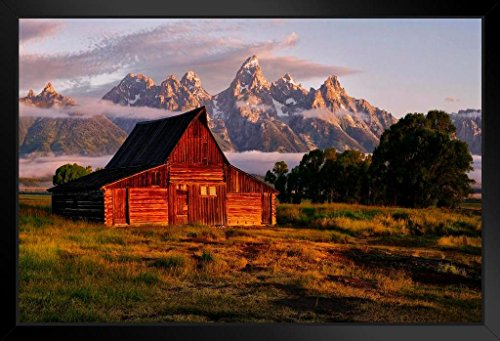 (Daybreak at The Barn Jackson Hole Wyoming Photo Art Print Framed Poster 20x14 inch)