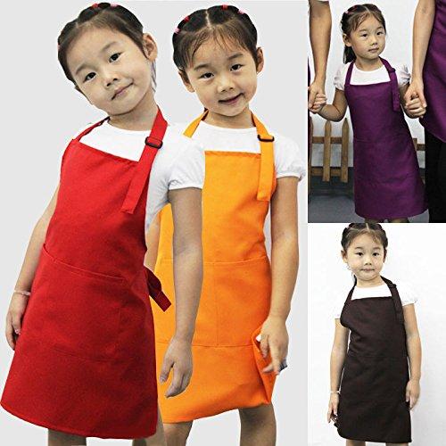 [Juenana Cute Children Kid Plain Apron Kitchen Cooking Baking Dining Child Frog Bib CraftBlack] (Child Frog Costume Pattern)