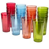 Cafe 20-ounce Break-Resistant Plastic Restaurant-Style Beverage Tumblers | Set of 16 Multicolor