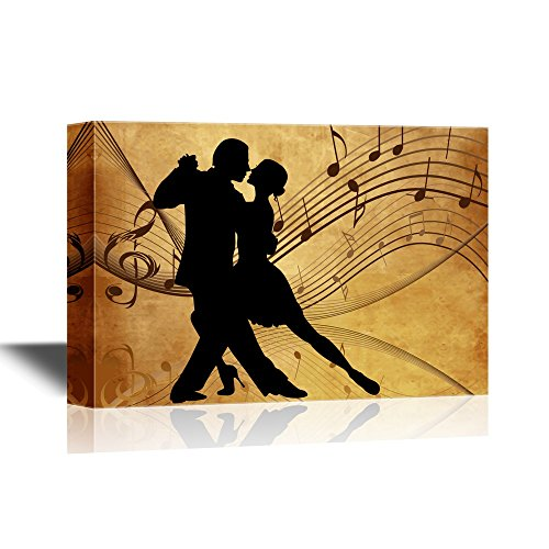 Silhouette of Two Dancers on Rustic Background with Music Notes