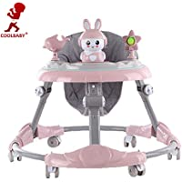 COOLBABY MULTIFUNCTIONAL Baby Walker Adjustable Toddler Walking Assistant Standing Up and Walking Learning Helper for Baby Safety Walking Harness Walker Color Pink