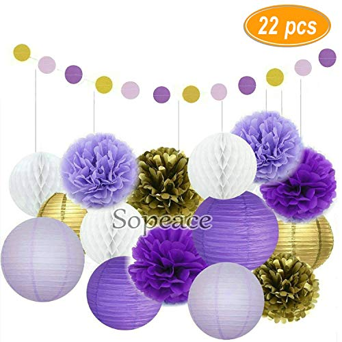 Sopeace 22 Pcs Gold Tissue Paper Flowers And Pink Pom Poms Lanterns For Baby Shower Birthday Decoration,Bridal Wedding Party Supplier]()