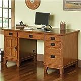 Home Style 5180-18 Arts and Crafts Double Pedestal Desk, Cottage Oak Finish