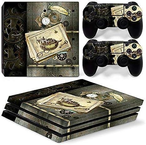 46 North Design Ps4 Pro Playstation 4 Pro Pegatinas De La Consola Old Time Machine + 2 Pegatinas Del Controlador: Amazon.es: Videojuegos