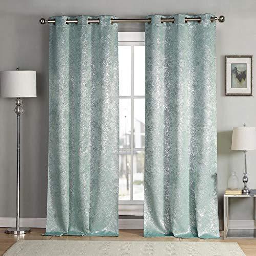 kensie Maddie Silver Metallic Textured Blackout Darkening Grommet Top Window Curtains Pair Drapes for Bedroom, Living Room-Set of 2 Panels, W38