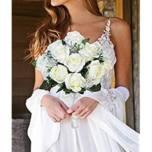 Aivanart Wedding Bouquet Crystal Silk Roses Bridal Wedding Hand Bouquet Bridesmaid Holding Artificial Fake Flowers 23