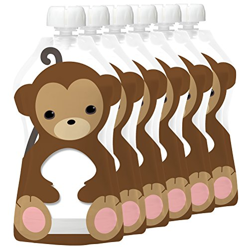 Squooshi Reusable Food Pouch | Monkey 6 Pack | Refillable Squeeze Pouches for Kids of All Ages ...