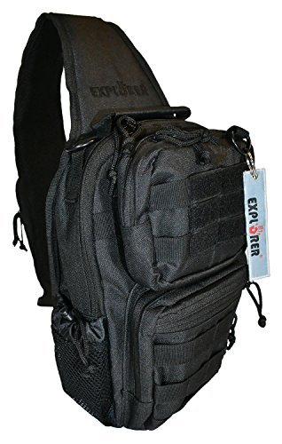 Explorer Tactical Sling Concealed Carry Bag with MOLLE Straps and Holster (Black) - Crossbody Military Design for Everyday Carry - Ideal for Hunting, Fishing, Hiking, Shooting and (Glock Backpack)