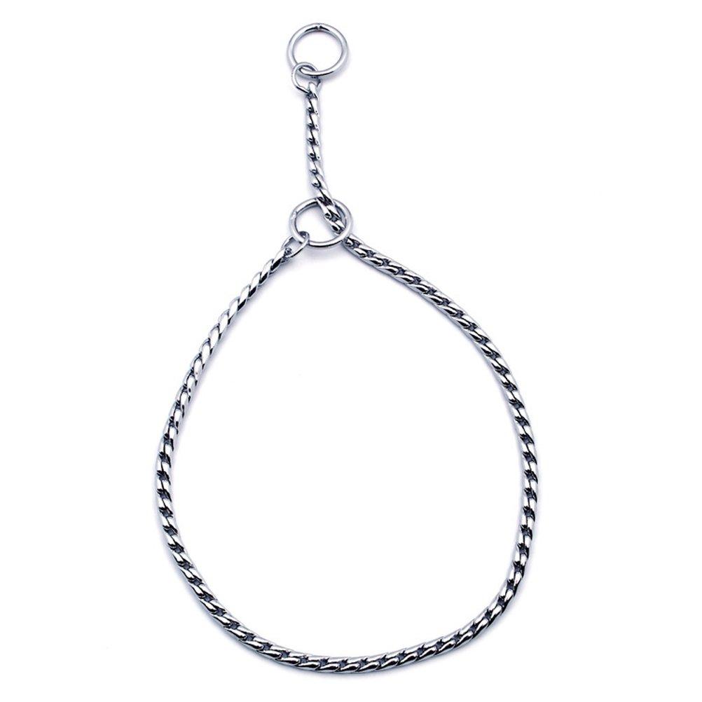 SGODA Silver Dog Chain Collar Choke Pet Training Snake Collar with Heavy Links, 20 in, 4 mm