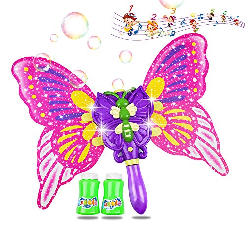 AINOLWAY Bubble Machine Butterfly Bubble Wand with 2 Bottles of Bubble Solution, Electric LED Light Musical Bubble Blower Toys for Girls Party Wedding Indoor Outdoor Activities (Purple)