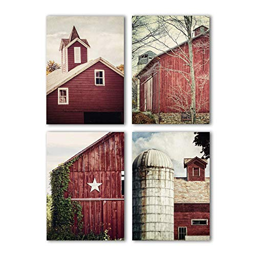 Photograph Fine Art Photo - Red Farmhouse Decor Set of 4 5x7 Unframed Prints. Country Rustic Barn Photography.