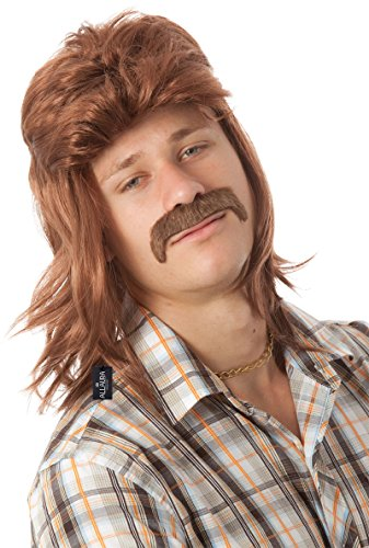ALLAURA Brown Mens Mullet Wig & Moustache 80's Redneck Hillbilly (90s Party Theme Costume Ideas)
