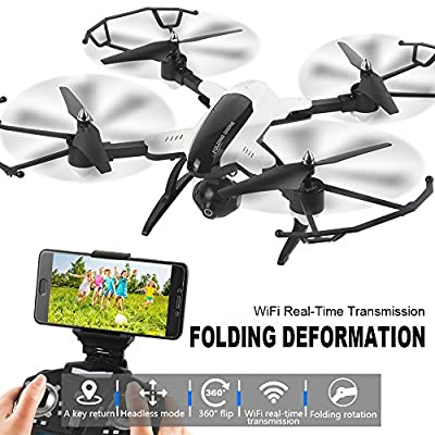 Dazhong Foldable Quadcopter Drone with WIFI Control Aerial Video 2.0MP HD Camera Drone 2.4G 4CH 6-Axis Gyro RC Helicopters Altitude Hold Mode And One-key Return Headless ¡­ by DAZHONG