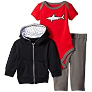 Yoga Sprout Baby-Boys Shark Collection Hoodie Bodysuit and Pant Set, Black/Red, 6-9 Months