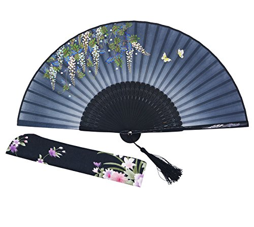 [Meifan Beautiful elegant Hand-crafted Chinese Japanese Hand Held Folding Fan FMF (Black)] (Mini Black And White Spanish Hat)