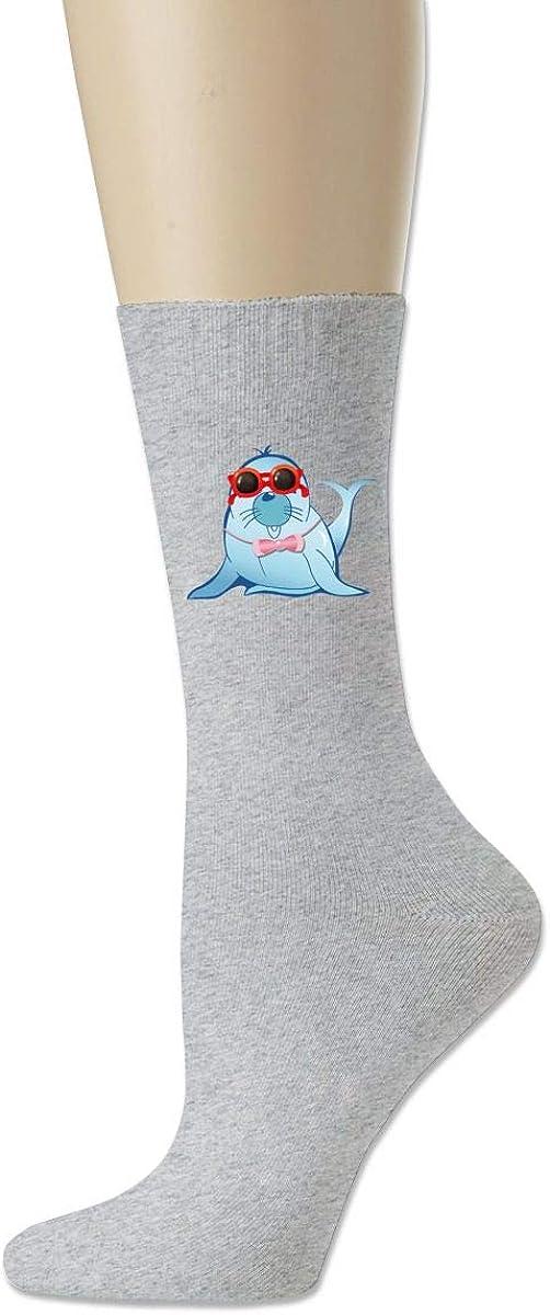 Men High Ankle Cotton Crew Socks Sea Lion Casual Sport Stocking
