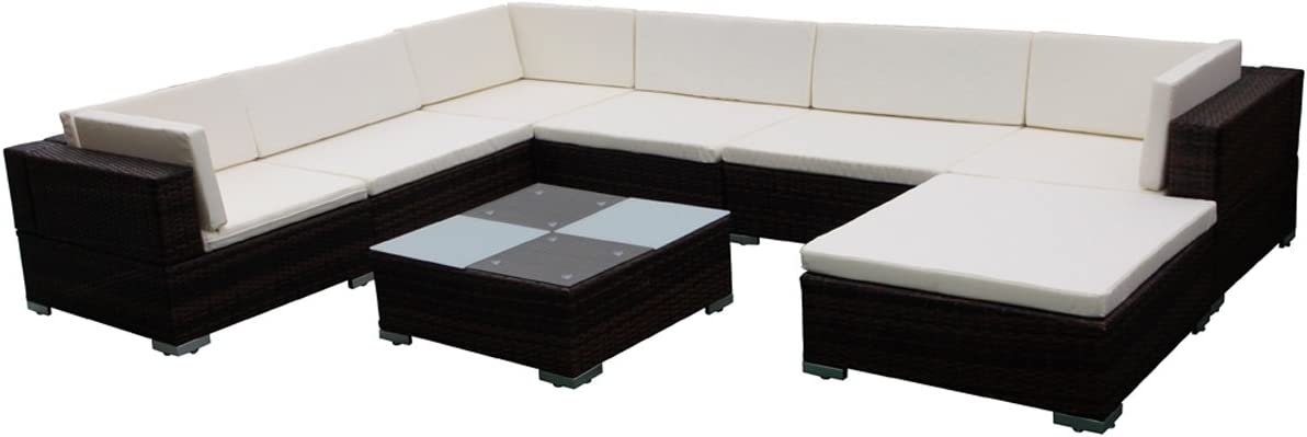 vidaXL Outdoor 8PC Patio Sofa Set Sectional Furniture PE Wicker Rattan Deck Couch Brown