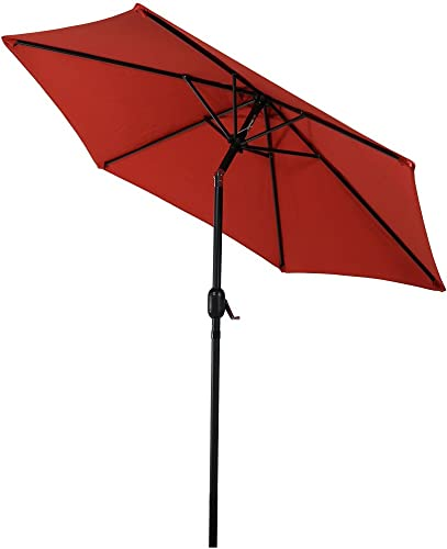 Sunnydaze 7.5 Foot Outdoor Patio Umbrella with Tilt Crank, Aluminum, Burnt Orange