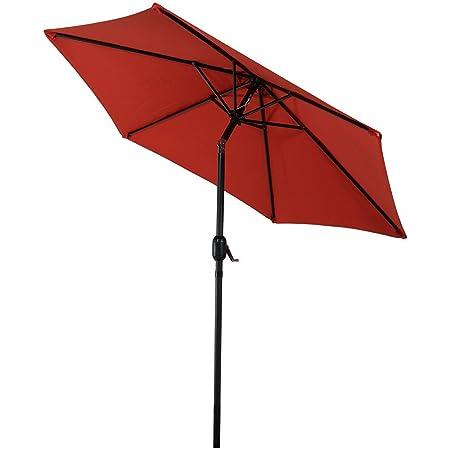 Sunnydaze 7.5 Foot Outdoor Patio Umbrella with Tilt Crank, Aluminum, Burnt Orange
