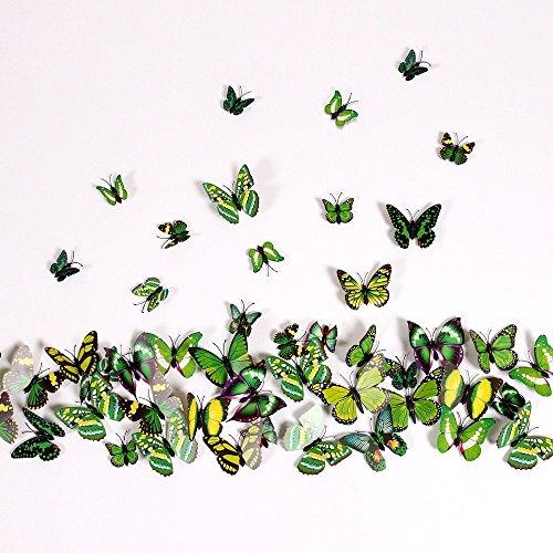 NO:1 12 Stück Mode 3D Schmetterling Magnetisch Wandsticker Wandaufkleber DIY Wandverzierung Wanddeko - Grün