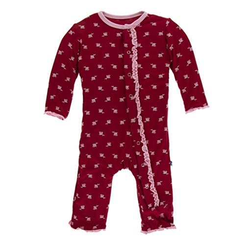 Kickee Pants Little Girls Print Muffin Ruffle Coverall with Snaps - Candy Apple Rose Bud, 9-12 Months