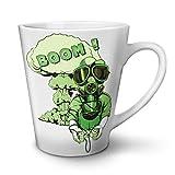 Gaming Boom Toxic Geek White Ceramic Latte Mug 12 oz   Wellcoda