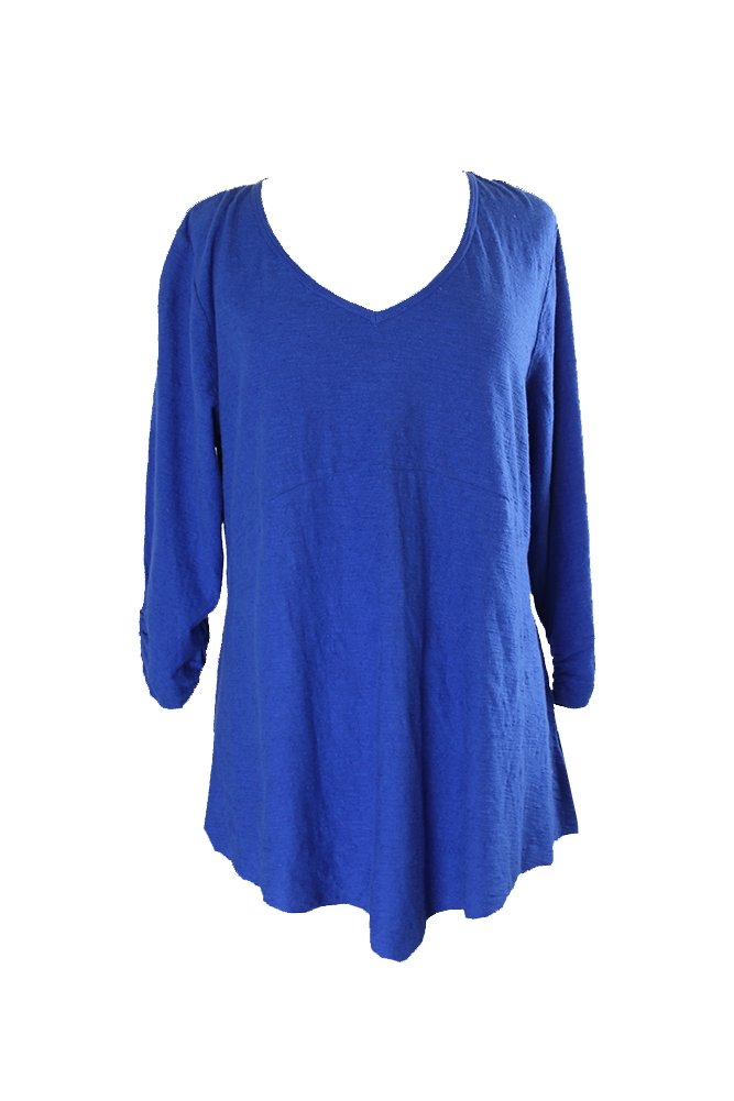 Style & CO Plus Size Ruched-Sleeve Handkerchief-Hem Top 0X