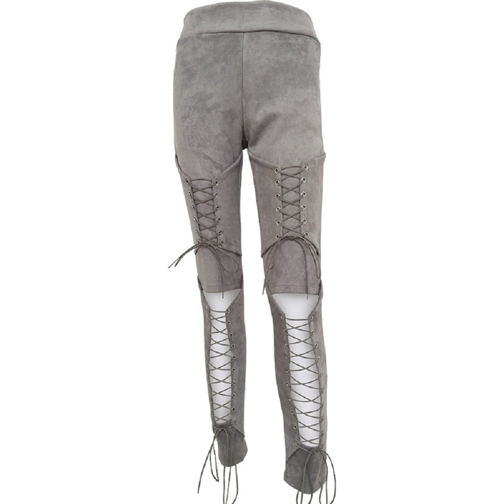 Steampunk Women's Pants, Leggings & Bloomers Sorrica Womens Sexy Crisscross Lace Up Bodycon Faux Suede Leggings Pants $26.99 AT vintagedancer.com