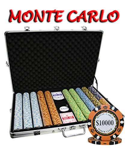 1000pcs 14g Monte Carlo Poker Club Poker Chips Set with Aluminum Case Custom Build by MRC