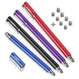 MEKO New 5mm High-Sensivity Fiber Tip Capacitive Stylus Dual-tip Universal Touch Screen Pen for All Tablets & Cell Phones with 8 Extra Replaceable Soft Fiber Tips (4 Pieces, Black/Blue/Purple/Red)