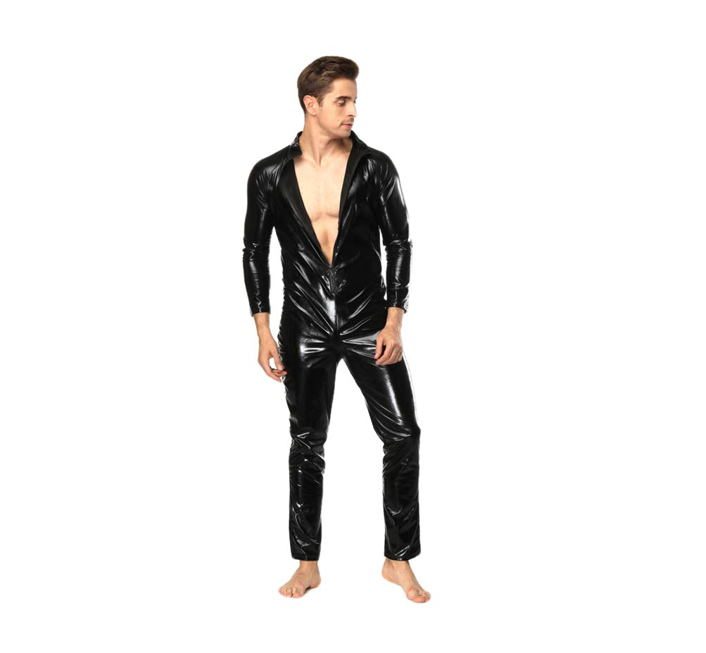 Dreamer Mens Clubwear Sexy Zippered Catsuit Lingerie Large Black