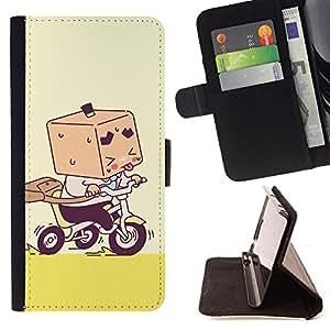 - Cute Box Boy - - Monedero PU titular de la tarjeta de cr????dito de cuero cubierta de la caja de la bolsa FOR Apple Iphone 6 PLUS 5.5 RetroCandy