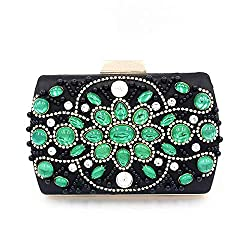 Green Crystal Diamond Evening Clutch