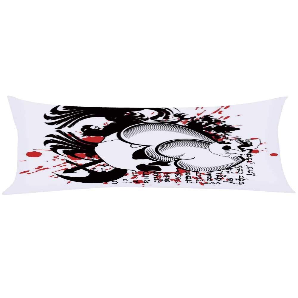 YOLIYANA Tattoo Decor Long Body Pillow,The Majestic Creature Head of a Wild Wolf Tribal Tattoo Design Art Print for Teens Adults,63'' Lx19.6 W
