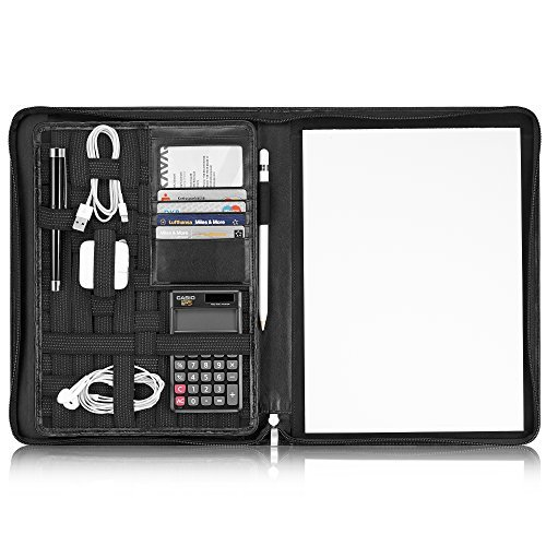 Zippered Calculator Padfolio - KAVAJ Leather Padfolio