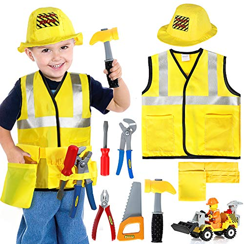 Construction Worker Costume Kids Role Play Dress up Set for 2 3 4 5 6 Years Toddlers Boys Girls Yellow]()