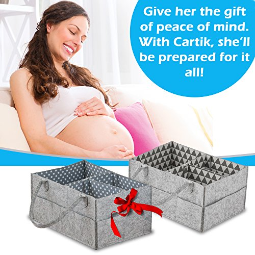Baby Diaper Caddy Organizer Set of 2 – Nursery Basket with Handles – Baby Diaper Storage and Changing Table Organizer 2-Pack – Perfect Baby Shower Gift Basket for Newborn Girls and Boys by Cartik by Cartik (Image #6)