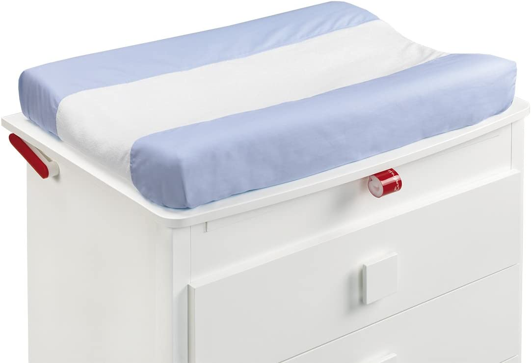 52 x 72 cm, LISO E Blue Cambrass Changing Mat Cover