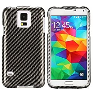 MOM Black Carbon Fiber 2 in 1 Setachable Protective Hard Case for Samsung Galaxy S5 I9600