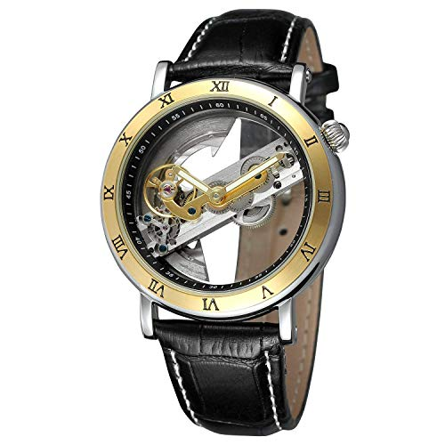 Unique Mens Automatic Watch Transparent Watch Dial Hollow Skeleton Silver Tone Mesh Band Watch (Black Band Gold) ()