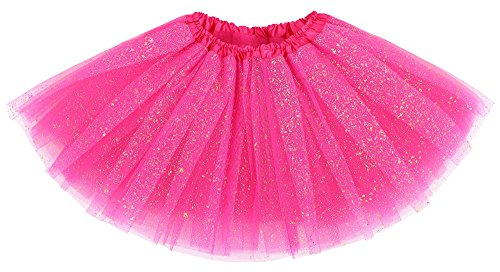 Shower Of Roses All Saints Day Costumes (Girl's Tutu 4 Layered Tulle Sparkling Sequin Tutu Skirt, Rose, 2-8 Years)
