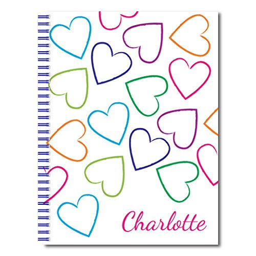 Sketch Hearts (Full of Love Personalized Heart Patterned Notebook / Journal, 120 Wide Ruled, Checklist, or Sketch Pages, durable laminated cover, and wire-o spiral. 8.5x11 | 5.5x8.5 | Made in the USA)