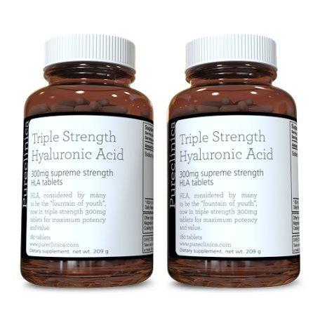 Hyaluronsäure Tabletten 300mg x 360 Stück (2 Flaschen mit je 180 Tabletten - 6 Monate Vorrat). Dreifache Stärke Hyaluronsäure. 300% stärker als andere HLA Tabletten. SKU: HLA3x2