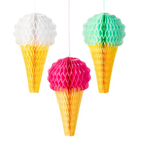 Talking Tables We Heart Ice Cream Hanging Honeycomb Ice Cream Decorations for a General party decoration or birthday party, Multicolor (3 Pack) -