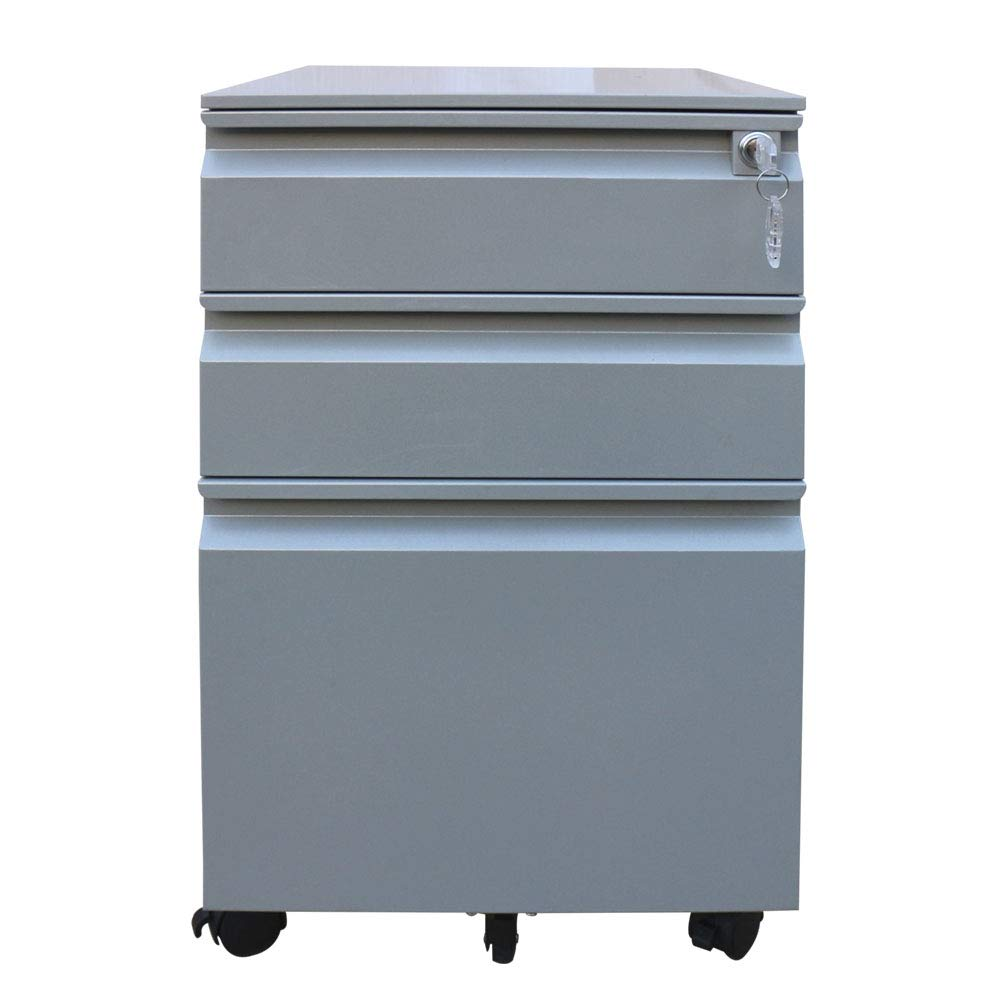 Greatmeet Metal 3 Pedestal Drawer Units Mobile Filing Cabinet Storage Units with Wheel Silver Color Disassembled
