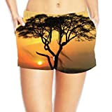 Africa Tree Sunset Women's Cute Hot Pants Sexy Low Waist Beach Pants Quick Dry Swim Trunks with Pocket