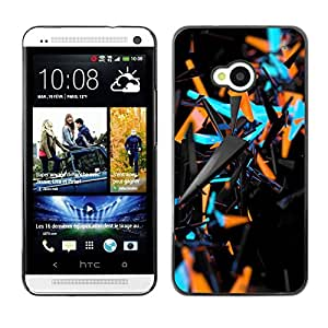 Impact Case Cover with Art Pattern Designs FOR HTC One M7 Blue Orange Abstract 3 D Black Pattern Betty shop